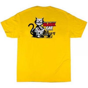 Poly Performance Black Cat Shirt, Yellow, Large