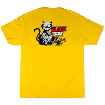 Poly Performance Black Cat Shirt, Yellow, Small