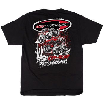 Poly Performance Animated Racers T-Shirt, Black