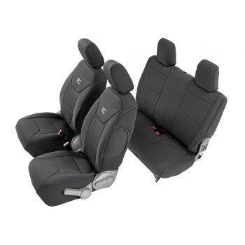 Rough Country Black Neoprene Seat Cover Set for Jeep 07-18 Wrangler JK 2-Door
