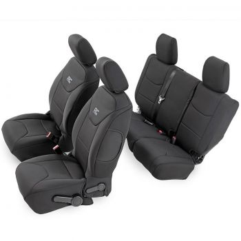 Rough Country Black Neoprene Seat Cover Set (Front & Rear) for 08-18 Jeep JK 4-Door