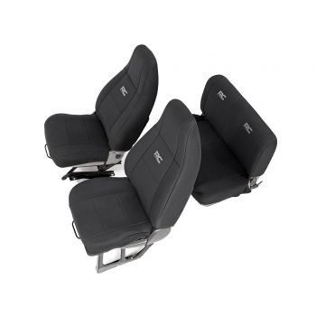 Rough Country Black Neoprene Seat Cover Set for 87-95 Jeep Wrangler YJ