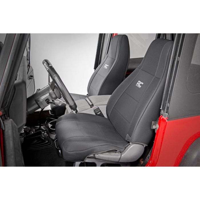 Jeep Seat Covers >> Rough Country Black Neoprene Seat Cover Set For 87 95 Jeep Wrangler